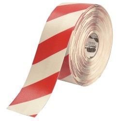 Mighty Line - 4RWCHVRED - Industrial Floor Tape, Striped, Continuous Roll, 4 Width, 1 EA