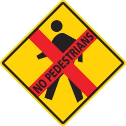 Mighty Line - NOPEDESTRIAN16 - Road Traffic Control, Vinyl, 16 x 16, Adhesive Surface