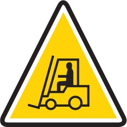 Mighty Line - CAUTIONTOWMOTOR16 - Lift Truck Traffic, Vinyl, 16 x 16, Adhesive Surface