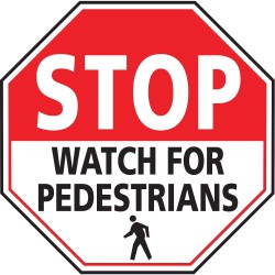 Mighty Line - STOPWATCH24 - Pedestrian Traffic, Stop, Vinyl, 24 x 24, Adhesive Floor