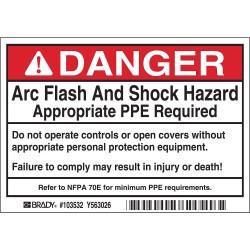 Brady - 103532 - Brady 103532 DP- 3.5x5 Arc Flash & Shock Label, 5 Pk