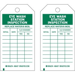 Brady - 86499 - Brady 7 X 4 Green/White Heavy Duty Polyester Tag REPLACE WATER/6 MOS INITIAL: DATE: H2O CHANGED YES/NO:, ( Package )