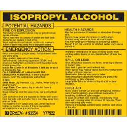 Brady - 93554 - Brady 3 1/2 X 4 1/2 Black/Yellow Vinyl Label ISOPROPYL ALCOHOL, ( Package )