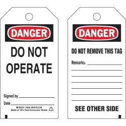 Brady - 76226 - Brady 5 3/4 X 3 Black Polyester Tag DANGER DO NOT OPERATE, ( Package )