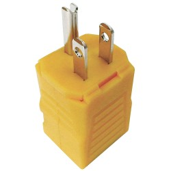 Power First - 20VR88 - 15A General Grade Straight Blade Plug, Yellow; NEMA Configuration: 5-15P
