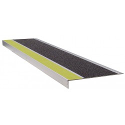Wooster - 300YB4 - Yellow/Black, Extruded Aluminum Stair Tread Cover, Installation Method: Fasteners, 48 Width