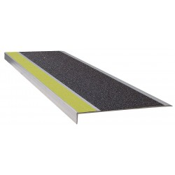 Wooster - 311YB4 - Yellow/Black, Extruded Aluminum Stair Tread Cover, Installation Method: Fasteners, 48 Width