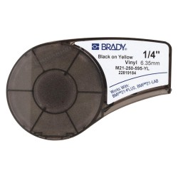Brady - M21-250-595-YL - Black/Yellow Vinyl Film Label Tape Cartridge, Permanent Printer Label Type, 21 ft. Length, 1/4 Widt