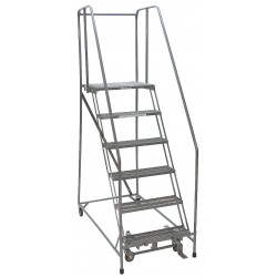 Cotterman - 1005R2630A6E30B4C1P6 - 5-Step Rolling Ladder, Perforated Step Tread, 80 Overall Height, 450 lb. Load Capacity