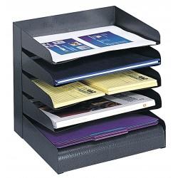 Safco - 3127BL - Safco Slanted Shelves Steel Desk Tray Sorter - 5 Tier(s) - Desktop - Black - Steel - 1Each