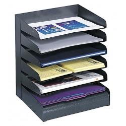 Safco - 3128BL - Safco Slanted Shelves Steel Desk Tray Sorter - 6 Tier(s) - Desktop - Black - Steel - 1Each