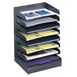 Safco - 3129BL - Safco Slanted Shelves Steel Desk Tray Sorter - 8 Tier(s) - Desktop - Black - Steel - 1Each
