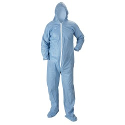 Lakeland - 07414-MDB - Pyrolon Plus 2, Flame-Resistant Hooded Coverall, Size: M, Color Family: Blues, Closure Type: Zipper