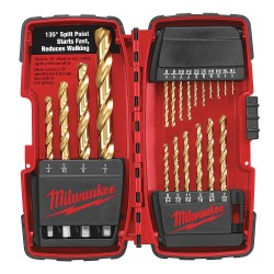 "Milwaukee Electric Tool - 48-89-1105 - Milwaukee Thunderbolt 1/16"" - 1/2"" Titanium Nitride HSS 20 Piece Twist Drill Bit Set With 3-Flat Shank"