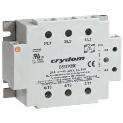 Crydom / CST - C53TP25C - 3-Pole Flange Mount Solid State Relay; Max. Output Amps w/Heat Sink: 25
