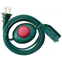Power First - 21RJ17 - 12 ft. Indoor Foot Switch Extension Cord; Max Amps: 13, Number of Outlets: 3, Green