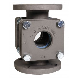L.J. Star - 1512 CNNN1N - Carbon Steel Window Sight Flow Indicator, 1-1/2 Pipe Size, 150# Flange Connection Type