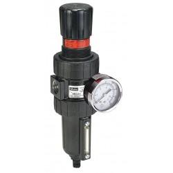 Parker Hannifin - 06E14B18AC - 1/4 NPT Filter/Regulator, 46 cfm Max. Flow, 250 psi Max. Pressure