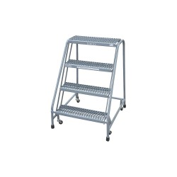 Cotterman - 1004N2630A3E30B3C1P6 - 4-Step Rolling Ladder, Serrated Step Tread, 40 Overall Height, 450 lb. Load Capacity