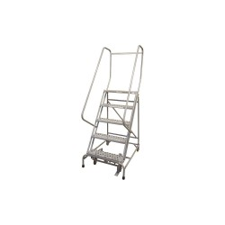 Cotterman - 1005R2630A3E10B4AC1P6 - 5-Step Rolling Ladder, Serrated Step Tread, 80 Overall Height, 450 lb. Load Capacity