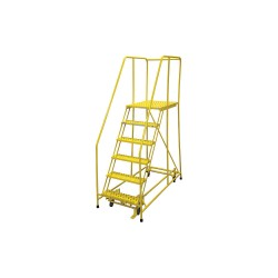 Cotterman - 1006R2630A3E30B4C2P6 - 6-Step Rolling Ladder, Serrated Step Tread, 90 Overall Height, 450 lb. Load Capacity