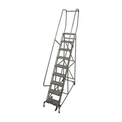 Cotterman - 1009R1824A3E10B4D3C1P6 - 9-Step Rolling Ladder, Serrated Step Tread, 120 Overall Height, 450 lb. Load Capacity