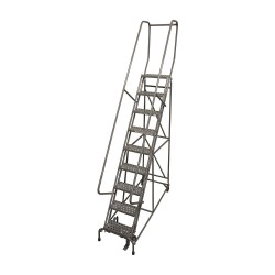 Cotterman - 1009R1824A6E10B4D3C1P6 - 9-Step Rolling Ladder, Perforated Step Tread, 120 Overall Height, 450 lb. Load Capacity