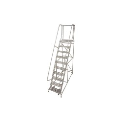Cotterman - 1010R2632A3E10B4AC1P6 - 10-Step Rolling Ladder, Serrated Step Tread, 130 Overall Height, 450 lb. Load Capacity