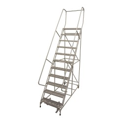 Cotterman - 1011R2632A3E10B4AC1P6 - 11-Step Rolling Ladder, Serrated Step Tread, 140 Overall Height, 450 lb. Load Capacity