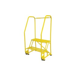 Cotterman - 2TR26A3E10B8C2P6 - 2-Step Rolling Ladder, Serrated Step Tread, 50 Overall Height, 450 lb. Load Capacity