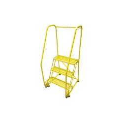 Cotterman - 3TR18A3E20B8C2P6 - 3-Step Rolling Ladder, Serrated Step Tread, 60 Overall Height, 450 lb. Load Capacity