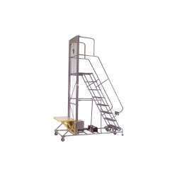 Cotterman - 7LTL C1 P2 - 7-Step Rolling Ladder, Serrated Step Tread, 100 Overall Height, 300 lb. Load Capacity