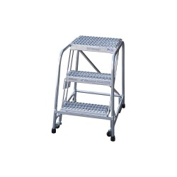 Cotterman - A3N1822A4B3C50P6 - 3-Step Rolling Ladder, Ribbed Step Tread, 60 Overall Height, 350 lb. Load Capacity