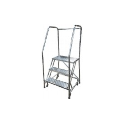 Cotterman - A3R2630A4B3C50P6 - 3-Step Rolling Ladder, Ribbed Step Tread, 60 Overall Height, 350 lb. Load Capacity
