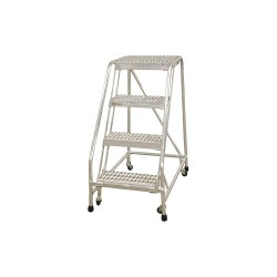 Cotterman - A4N1822A4B3C50P6 - 4-Step Rolling Ladder, Ribbed Step Tread, 70 Overall Height, 350 lb. Load Capacity
