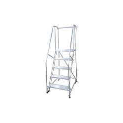 Cotterman - A5R2630A4B3C50M6P6 - 5-Step Rolling Ladder, Ribbed Step Tread, 80 Overall Height, 350 lb. Load Capacity