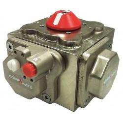 Habonim - C60-DA-NP - 14-11/64 x 14-11/64 x 9-49/64 Nickel Plated Compact Pneumatic Actuator, 1.50 sec. Cycle Time