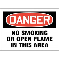 Accuform Signs - 219069-7X10A - No Smoking, Danger, Aluminum, 7 x 10, With Mounting Holes, Not Retroreflective