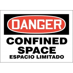 Accuform Signs - 219079-7X10P - Confined Space, Danger, Plastic, 7 x 10, With Mounting Holes, Not Retroreflective