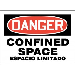 Accuform Signs - 219079-10X14S - Confined Space, Danger, Vinyl, 10 x 14, Adhesive Surface, Not Retroreflective