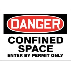 Accuform Signs - 219080-7X10S - Confined Space, Danger, Vinyl, 7 x 10, Adhesive Surface, Not Retroreflective