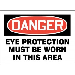 Accuform Signs - 219084-7X10P - Personal Protection, Danger, Plastic, 7 x 10, With Mounting Holes, Not Retroreflective