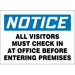 Accuform Signs - 219106-7X10S - Employees and Visitors, Notice, Vinyl, 7 x 10, Adhesive Surface, Not Retroreflective
