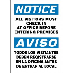 Accuform Signs - 219134-14X10S - Employees and Visitors, Notice/Aviso, Vinyl, 14 x 10, Adhesive Surface, Not Retroreflective