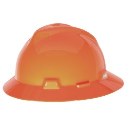 MSA - 489360 - MSA Orange V-Gard Polyethylene Slotted Full Brim Hard Hat With Staz On 4 Point Pinlock Suspension