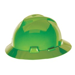 MSA - 815562 - Full Brim Hard Hat, 4 pt. Ratchet Suspension, Lime Green, Hat Size: Universal
