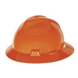 MSA - 496075 - Full Brim Hard Hat, 4 pt. Ratchet Suspension, Orange, Hat Size: Universal