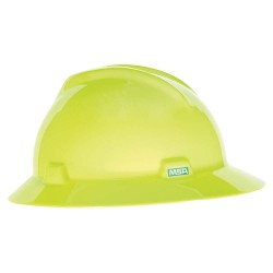 MSA - 10061515 - Full Brim Hard Hat, 4 pt. Ratchet Suspension, Hi-Visibility Yellow/Green, Hat Size: Universal