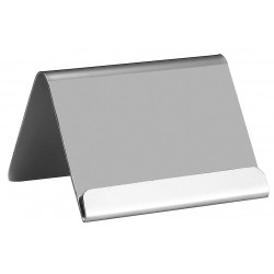 TableCraft - B17 - Card Holder with Lip, Tent, Silver Stainless Steel, 1 EA