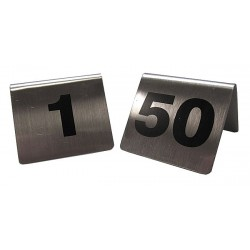 TableCraft - T150 - Number Tents, 1-50, Tent, Silver Stainless Steel, 50 PK
